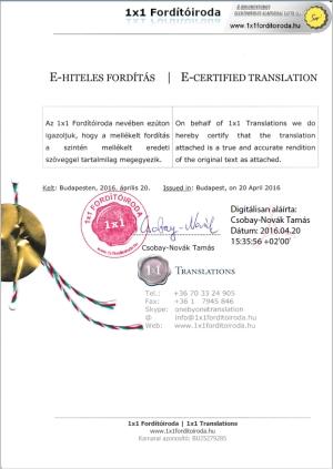 E-hiteles fordítás