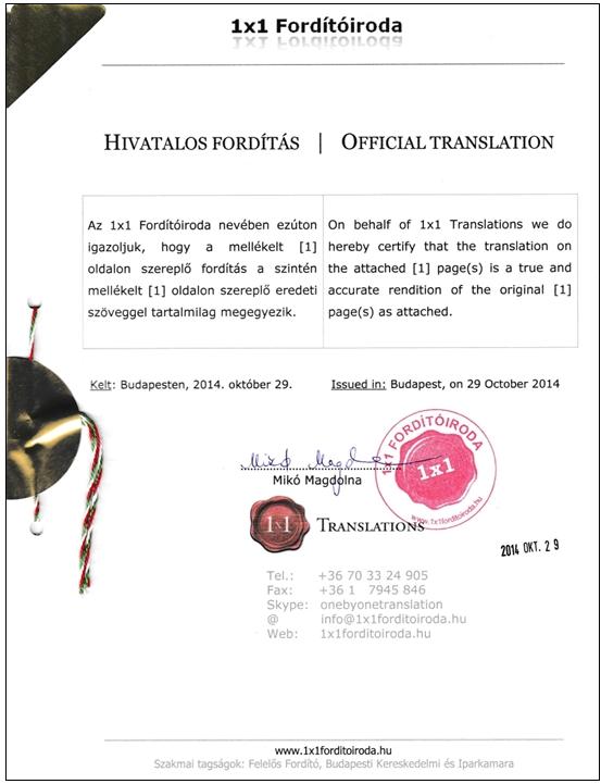 Hivatalos fordítás - hiteles fordítás